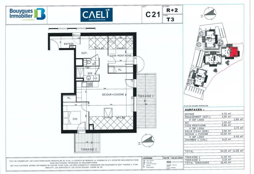 APARTMENT 3 ROOMS NEW FOR SALE - LE MONETIER LES BAINS - 54,25 m2 - 336900 €