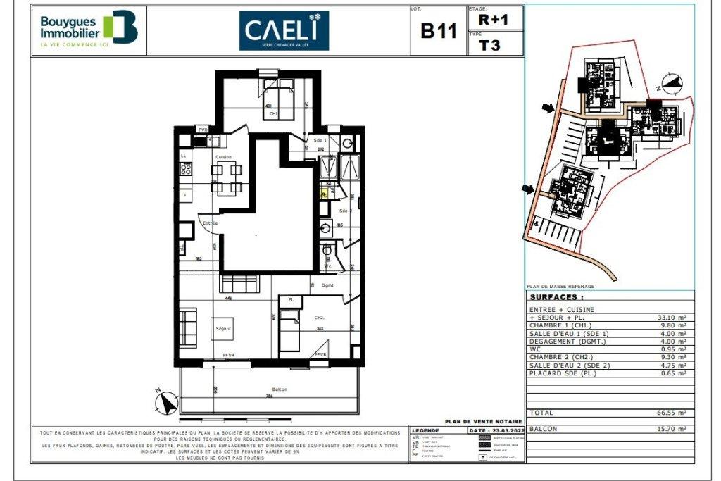APARTMENT 3 ROOMS NEW FOR SALE - LE MONETIER LES BAINS - 67,4 m2 - 379500 €