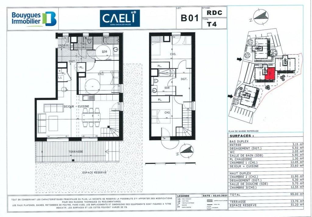 APARTMENT 4 ROOMS NEW FOR SALE - LE MONETIER LES BAINS - 99 m2 - 604400 €